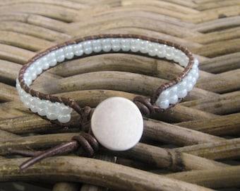 Single wrap bracelet, Leather bracelet light blue glass, Czech glass leather bracelet