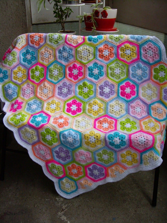 African Flower Crochet Baby Blanket Pattern : African Flower Crochet Blanket Granny Square Afghan by ...