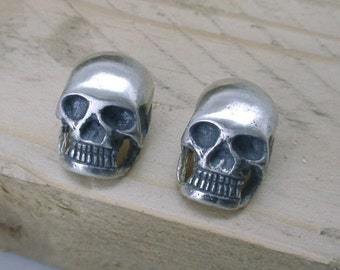 Large Human Skull Ear Studs Sterling Silver