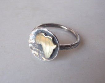 Rustic Africa Button Ring Africa Continent Ring Gold Africa Ring - Sterling Silver (925) and brass