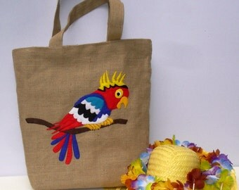 Parrot in red blue,hand applique on jute tote bag, handmade, exotic bird, summer tote bag, shoppers bag, beach bag,artistic, unique,