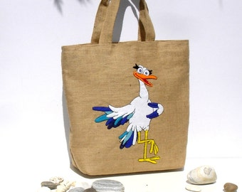 Handmade summer jute tote bag, hand applique with a funny pelican ,collectible, eco friendly, unique OOAK item, beach bag