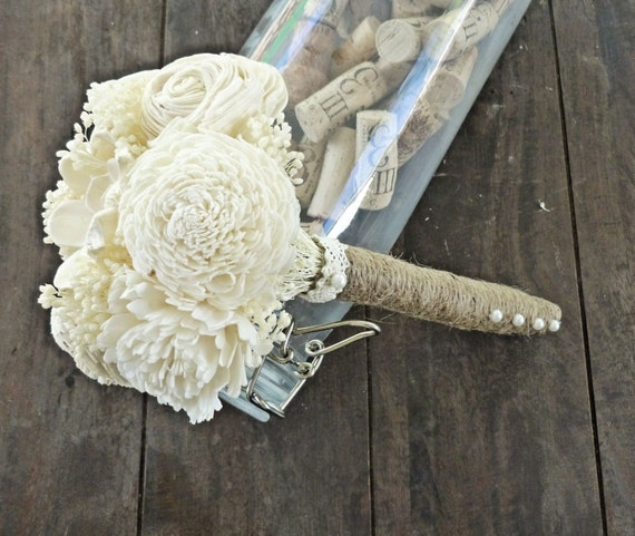 Ivory Toss Bouquet- Wedding Bouquet, Bridesmaid Bouquet, Throw Away Bouquet, Alternative Flower Bouquet, Keepsake Bouquet