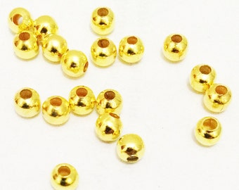 500pcs Gold Plated metal Base Round Spacer Beads 4mm Jewelry Findings