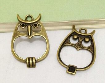 Owl Charms -15pcs Antique Bronze Owl Connector Charm Pendants 23x34mm B401-3
