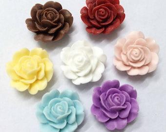 Chrysanthemum Flowers -20pcs Mixed Colors Beautiful Resin Rose Bobby Pin Charm 22mm H403