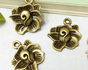 Flower Charms -20pcs Antique Bronze Rose Flower Drop Charm Pendants 19mm E503-5