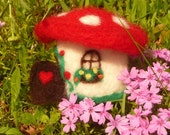 Fairy House Gnome Fantasy Mushroom House - Waldorf  Steiner Toy - Needle Felted Wool