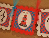 Merry Un-Birthday Tea Party Hatter Wonderland Banner - Pink Turquoise Purple - About Our Party Pack Sale - Free Ship Over 60.00