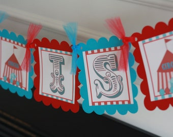 Red & Turquoise Vintage Circus Custom Name Banner - Ask About Our Party Pack Specials - Free Ship Over 65.00