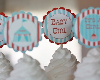 12 Red & Blue Vintage Circus Carnival Theme Baby Shower Cupcake or Cake Toppers - Ask About our Party Pack Sale00 - Free Ship Over 65.00