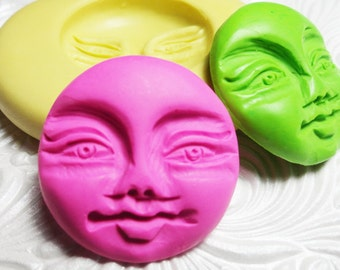 Moon Face Mold Flexible Silicone Push Mold for Resin Wax Fondant Clay Fimo Ice