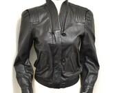 Vintage 80s Amazing Black Leather Jacket - David Benjamin Designer 6 S / M