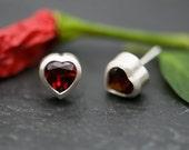 Love Heart Earrings - Red Garnet Earrings - Heart Shaped Stud Earrings -  Ruby Red Garnets - Sterling Silver Stud Earrings - Free Shipping