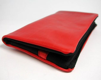 """Tobacco pouch, Wallet, Mobile Phone pouch """"red leather"""""""