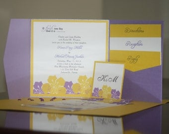 Lavender and Gold Invitation Suite...includes envelopes