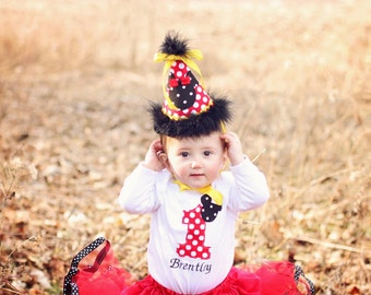 Sale!! Red Dot Mickey Disney Girl Boutique Birthday Outfit Tutu Shirt Hat Pink Dots First Second Third Sewn