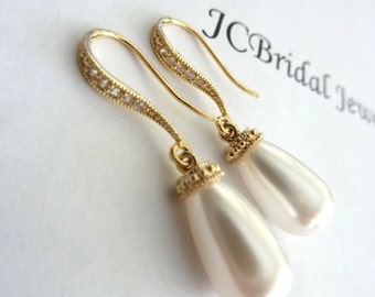 Wedding Bridal Earrings White Swarovski Pearl with Yellow Gold Plated Teardrop CZ Earring