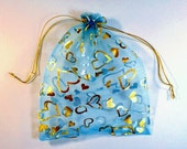 5  x 7  inch Large  Size Lot of 10 Turquoise  Blue Gold Hearts Organza Bags