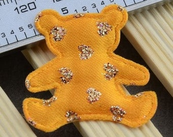 10 Fancy Large Yellow Embellished Padded Felt Appliques Teddy Bears