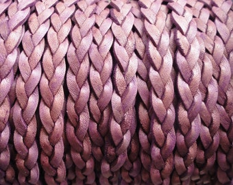 Purple Flat Braided Leather Cord - Natural Dye - 5mm Wide - 1 Yard