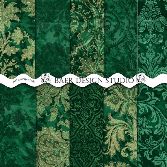 40 Offemerald Green And Gold Damask Digital By