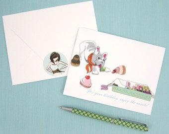 Birthday Card, humorous card, It's your Birthday Enjoy the Sweets, French Bulldog Eats Laduree, French Macarons, dessert