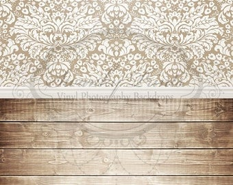 """ALL In ONE 60"""" x 123""""(backdrop, floordrop & baseboard) White Damask-Brown and Brown Washed"""