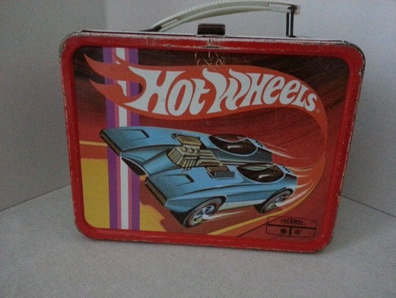 Vtg. 1969 Hot Wheels Metal Lunchbox w/ Thermos