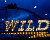 Carnival, Fair, Wild Night Rollercoaster 8x10 Photography Art Print