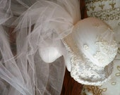 vintage wedding .. White off white WEDDING Veil  HAT lovely layers of toille ... vintage wedding