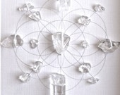 Crystal Grid ---- PURIFY ENERGIZE FLOW --- framed  --- clear quartz, sacred geometry