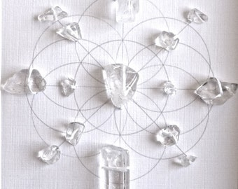 Crystal Grid ---- PURIFY ENERGIZE FLOW --- framed  --- clear quartz, sacred geometry