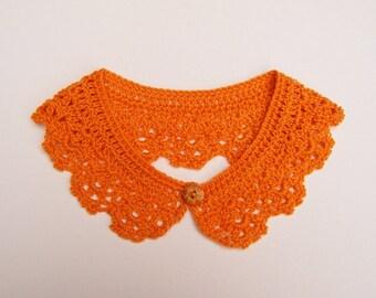 Safron Orange Peter Pan Crochet Collar