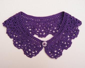 Purple Crochet Peter Pan Collar, Cotton Detachable Lace Accessory