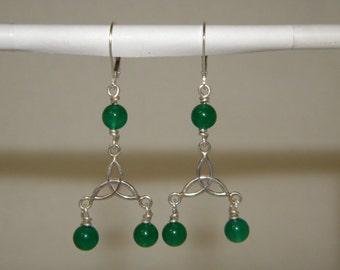 Silver Green Onyx Earrings