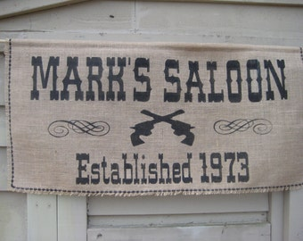 Saloon Sign, Bar Sign, Burlap Wedding Banner, Burlap Banner, Rustic Wedding, Rustic Burlap, Burlap Bar Sign, Personalized Sign