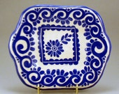 Scaled-Down SGRAFFITO TRAY / DISH Hand Built Porcelain Blue & White Platter with Graceful Curvy Design Carved