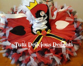Queen Of Hearts Tutu Dress,  Petti Tutu Dress, Alice In Wonderland Party, Queen Of Hearts Dress, Kids Birthday Tutus, Pageant Dress