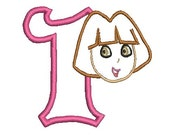 Dora Applique, Embroidery Design, Dora the Explorer (141) Instant Download