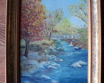Vintage Original OIl Painting of  A Bridge over troubled waters, in the Autumn, Well Done Landscape Scene painted on Canvas Board