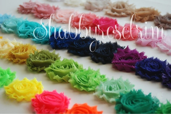 10 Yards Chiffon Flower Shabby Rose Trim - You choose the colors