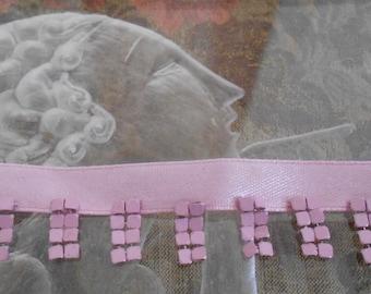 Pink Ribbon Mesh Fringe Trim
