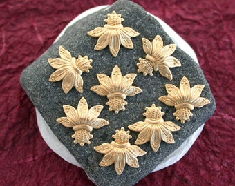 Flower Stampings, Brass Flower Stampings, Passion Flowers, Vintage Style Flower Stampings  STA-047