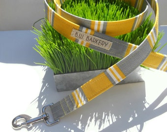 Hamptons yellow and grey striped dog leash...