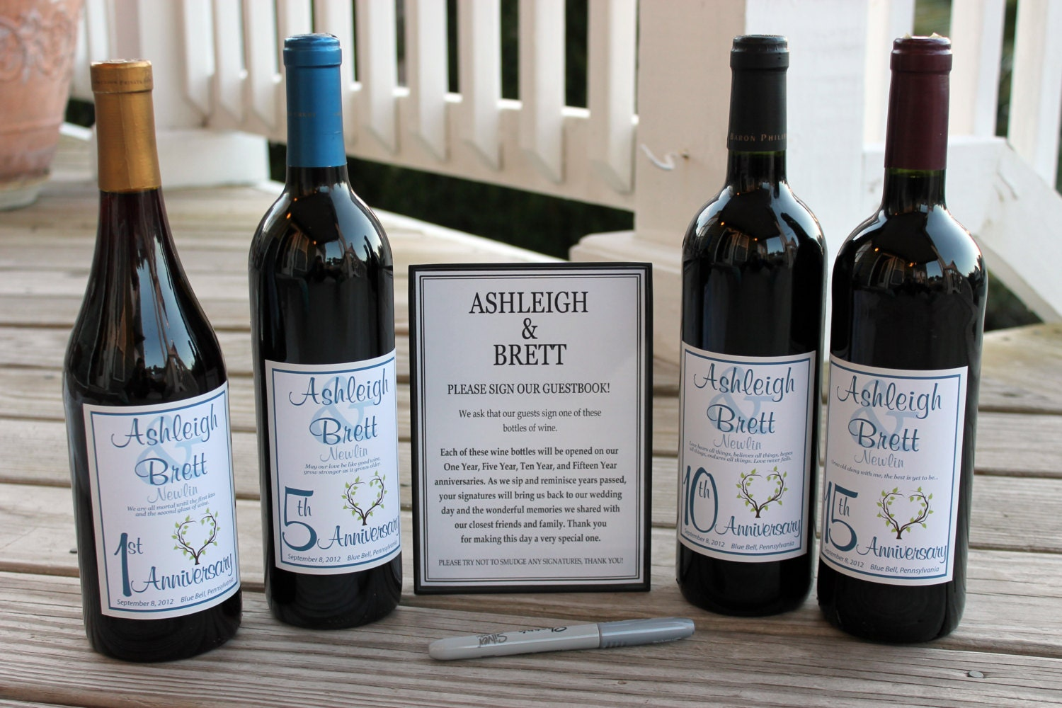 Wine Bottle Guest Book Kit Gift Boxed Custom labels wedding