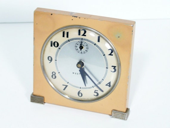 Vintage art deco alarm clock westclox windup desk clock Art deco alarm clocks