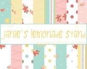 Janie's Lemonade Stand Digital Paper Pack - 16 Digital Sheets