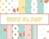 Lemons and Sugar Digital Paper Pack - 16 Digital Sheets