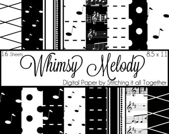 Whimsy Melody Digital Paper Pack - 16 Digital Sheets